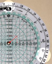 Select the true airspeed, and find the wind correction angle next to the crosswind component on the outer disk.