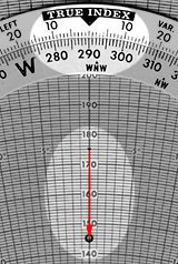 The wind arrow is 30 kt long, pointing into the centre from a heading of 290°