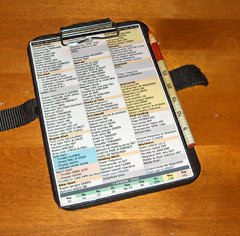 My checklist, kneeboard, and red grease pencil (held in place with Velcro®).