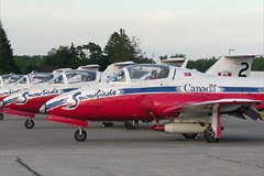 My lucky day! I stopped at Barrie/Simcoe Regional Airport (CNB9) to pick up a friend to go to the 2006 Canadian Aviation Expo, and the Canadian Forces' Snowbirds happened to be parked there.