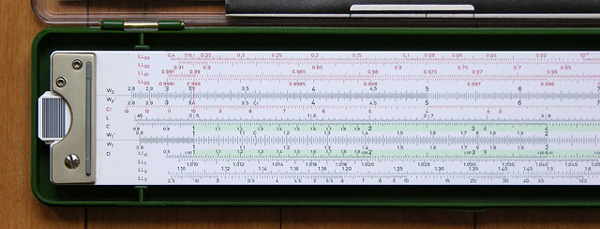 Back left side of the Faber-Castell 2/83N slide rule.