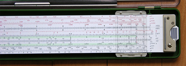Back right side of the Faber-Castell 2/83N slide rule.