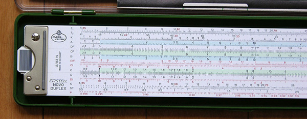 Front left side of the Faber-Castell 2/83N slide rule.