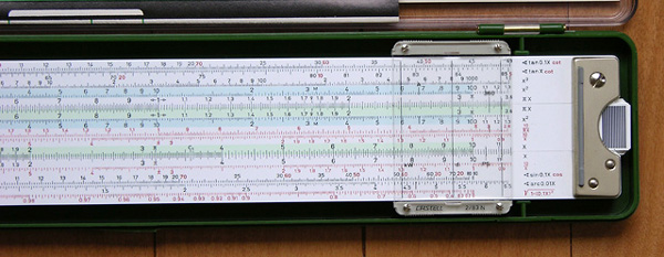 Front right side of the Faber-Castell 2/83N slide rule.