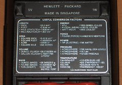 The back label contains a list of useful conversion factors.