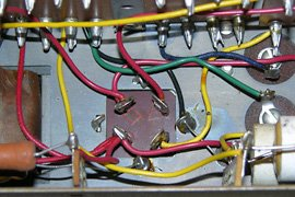 Original wiring to the silver can capacitor.