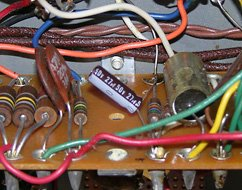 Replacement C64 capacitor, near the power transformer end of the amplifier.