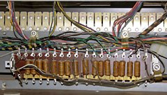 The vibrato delay line consists of capacitors and inductors (not visible) which delay and filter the signal.