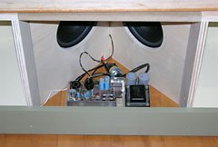 Yamaha BK-20B main amplifier in the rightmost speaker enclosure.