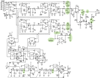 PAiA's chorus circuit schematic, with my modifications highlighted. The chorus select inputs go to a rotary switch for selective grounding.