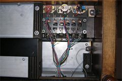Bottom view of the control panel showing the wiring, neatly bundled and routed to the back.