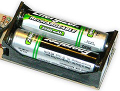 A pair of Eveready Energizer 2500mAh (2.5Ah) AA rechargeable batteries.