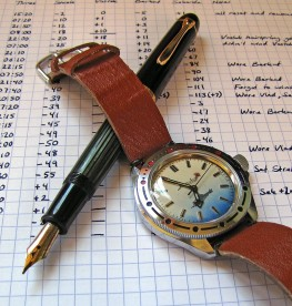 My Pelikan 140 and a Soviet-era Russian mechanical watch.