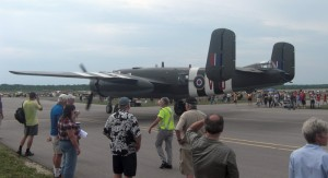 B-25 Mitchell taxiing out. This was not your typical spectators-behind-the-fence event.