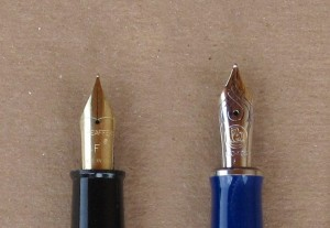 Sheaffer's gold-plated steel nib and Pelikan's 14K solid gold nib.