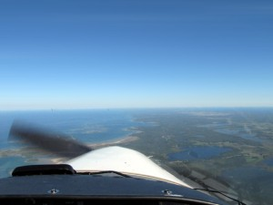 Flying up the Bruce Peninsula.