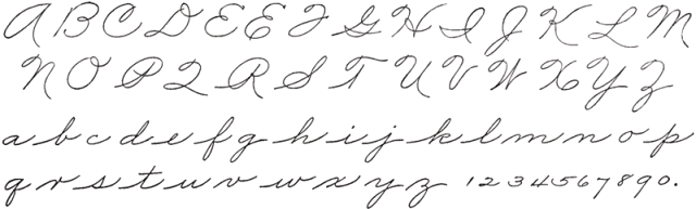"The form of cursive that I was taught (letters shown separated for clarity). From ""The Palmer Method of Business Writing"", 1901."