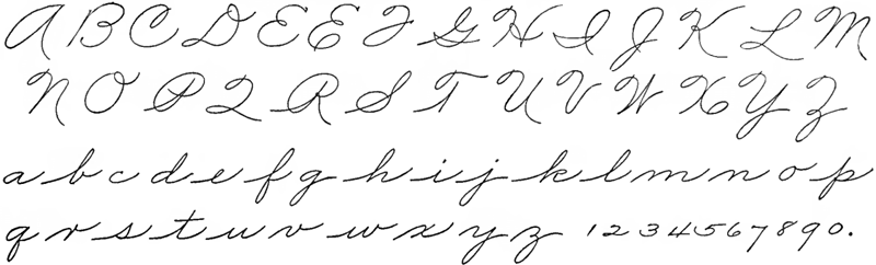 the form of cursive that i was taught letters shown separated for clarity