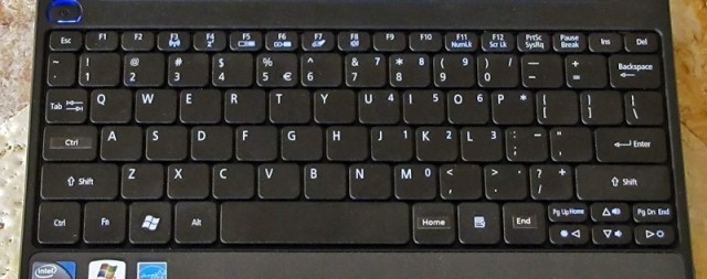 The replacement US-layout keyboard after I installed it. I remapped the Caps Lock key, and the right-hand Alt and Ctrl keys.