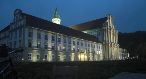 A night time view of the original monastery and church on which the conference venue was built.