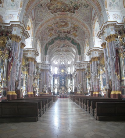 The interior of the church. This images is a vertical panorama assembled from two images taken from the entrance area.