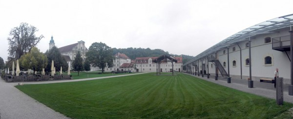 A panorama of the venue grounds, assembled from eight separate images.