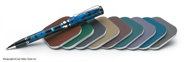 A set of Micro-Mesh sanding pads for polishing pens. Photo courtesy of Lee Valley Tools.