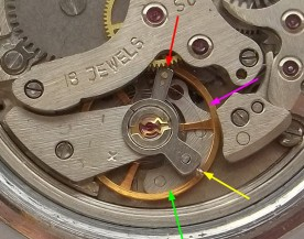 The regulator (red arrow) should be approximately where the magenta arrow is pointing, and the stud holder (yellow arrow) where the green arrow points. Also notice that the coils are not concentric, and that the terminal curve bows outward.