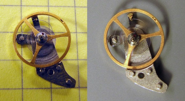 The balance wheel and hairspring, before and after reshaping the terminal curve.