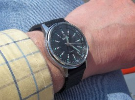 My Sekonda on its new home made black leather strap.