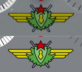 Original photo of the emblem on top, and traced artwork below.