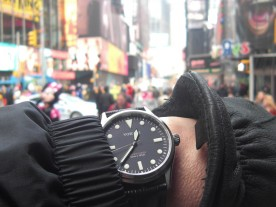 Checking the time in Times Square.