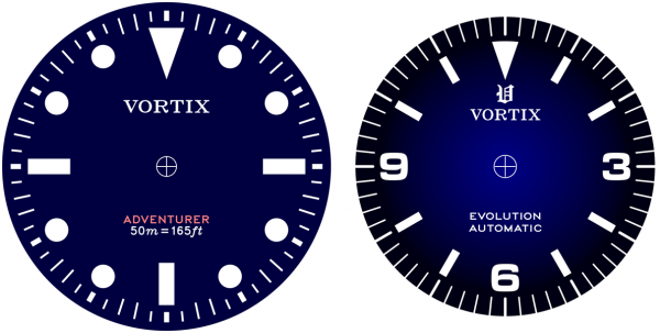 "Artwork for the ""Adventurer"" and ""Explorer"" dials, to relative scale."