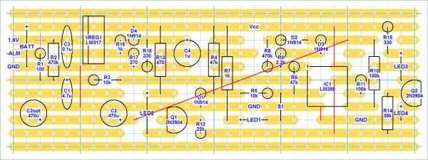 "Main control board stripboard layout (3.1"" x 1.1""), component side."