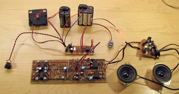 Wake-O-Matic components without their enclosure. The large board at the bottom is a remake of a PAiA Chord EGG sound generator.