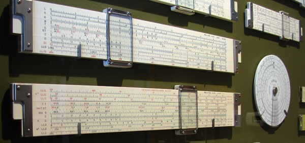 A few of my slide rules in their new display case.