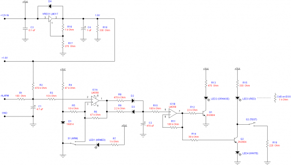 Schematic of the central control board, responsible for voltage regulation and alarm control.