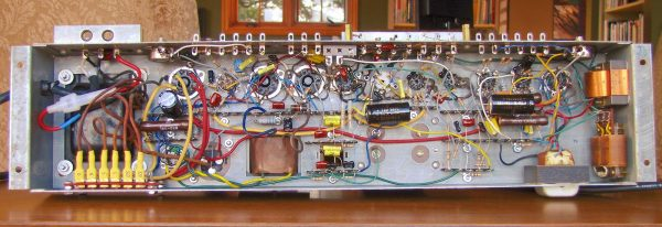 Bottom view of the completed rebuilt AO-29 amplifier.
