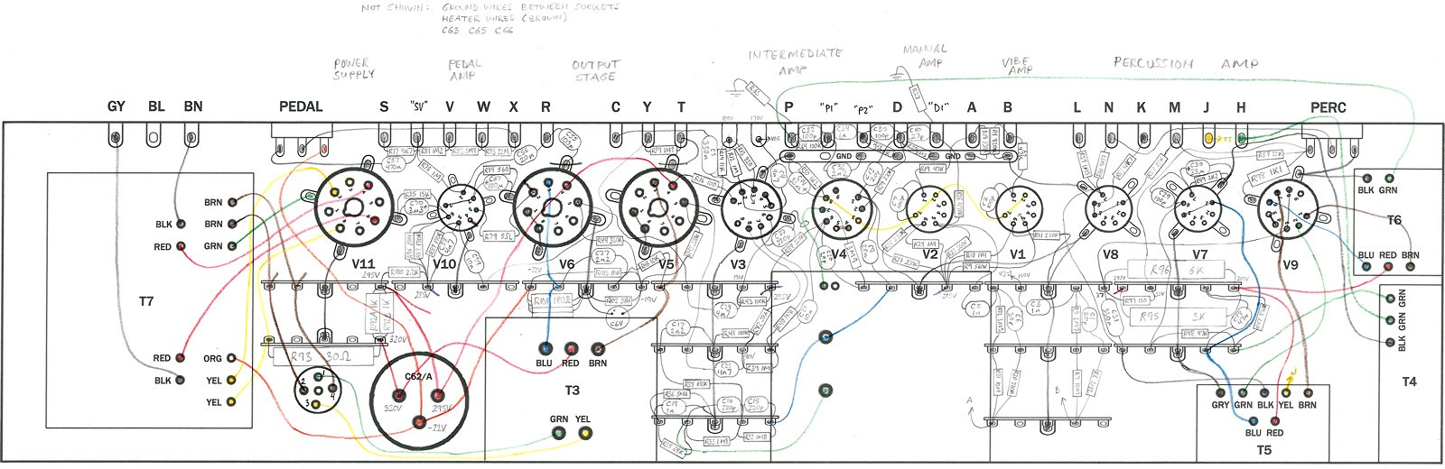 rebuilding a hammond ao 29 amplifier from the ground up the completed wiring diagram drawn full size