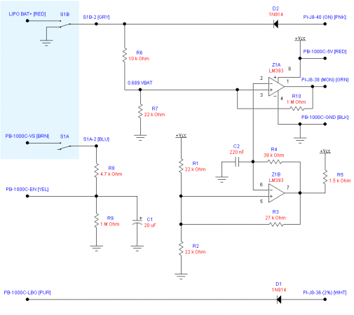 Schematic of the shutdown controller and battery monitor. The blue area is the off-board power switch.
