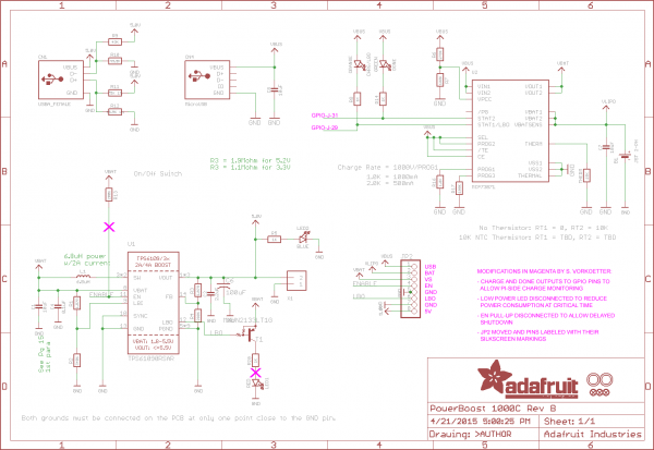 Modified PowerBoost 1000C schematic detailing the modifications I made.