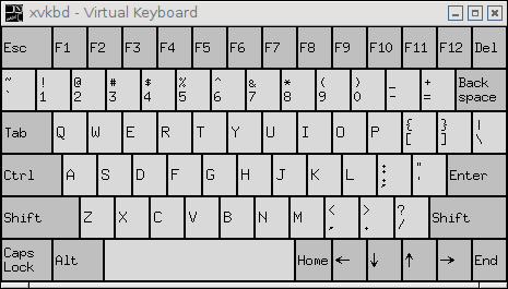 The customized xvkbd virtual keyboard.