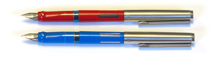 Two Pelikan Pelikanos with Stainless Steel Fine Nibs, from 1989.