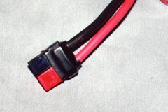 "Sermos connectors can be shortened by about 3/16"". This pair is covered in heat-shrink to protect against short-circuits."