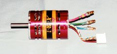 This brushless motor has three power wires (the short heavy wires), and a separate five-wire sensor cable (with the white connector).