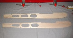 A plywood (top) and balsa (bottom) version of the Mid*Star 40 fuselage side. The kit-supplied plywood side weighs 2.9 oz. The balsa version weighs 0.8 oz. Replacing both sides, the top, and the bottom with balsa will save about half a pound.
