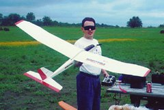 My Great Planes Spectra, shortly after I built it, using the stock motor and propeller, on seven 1400 mAh cells.