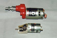 A Speed 600 motor with 2.5:1 Master Airscrew gearbox (top), and a Speed 400 motor with Modelair-Tech 2.14:1 gearbox.