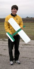 Bryan with the Speed 400 powered DimWatt after its first flights, before upgrading to brushless power.