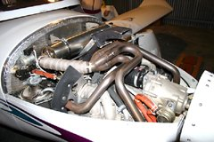 For comparison, this photo shows the Rotax 912 80hp engine installation. Photo by B. Miller.